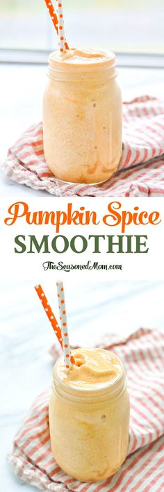 This Pumpkin Spice Smoothie is loaded with protein for a quick and healthy breakfast or snack that's perfect for fall! Protein Smoothies, Breakfast Smoothies, Healthy Breakfast Recipes, Fruit Smoothies, Healthy Drinks, Smoothie Recipes, Drink Recipes, Pineapple Smoothies, Diabetic Smoothies