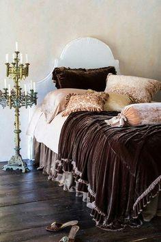 Brown velvet bedding