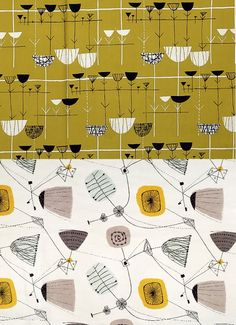 (top) Marion Mahler, furnishing fabric, 1952.  (bottom) Lucienne Day, Perpetua, furnishing fabric, 1953