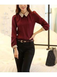 S-XXL New Fashion Women Long Sleeve Chiffon Blouse Shirt Peter Pan Collar Lantern Sleeve Women Blouse Tops Cheap Blouses, Blouses For Women, Red Long Sleeve Tops, Roll Up Sleeves, Collar Blouse, Blouse Online, Blouse Styles, New Fashion, Fashion Women