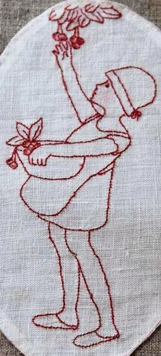 Embroidered Red Work Little Girl