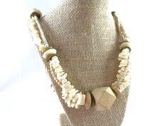 Beige Stone Natural Wood Vintage Necklace by RusticWayTreasures
