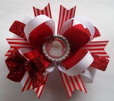 Christmas Santa Handmade Boutique Hair Bow - Fits baby. girls women