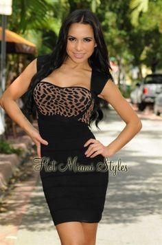 Black Leopard Print Accent Key-Hole Back Bandage Dress