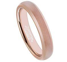4mm Wedding Band 18k Rose Gold Brushed Center Tungsten Carbide Ring [4mm, 6mm, 8mm]