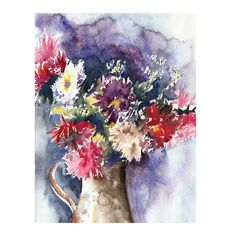 Bouquet of Asters Original Watercolor by SkyblueByEvaMarion