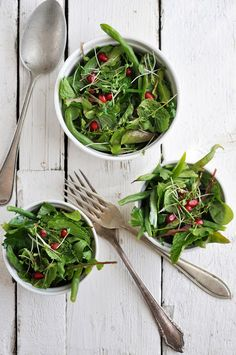 HERB SALAD WITH GREEN BEANS AND POMEGRANATES 1 cup parsley leaves 1 cup mint leaves 1/2 cup purslane leaves 1/2 cup arugula leaves 1/4 cup water cress 1/4 cup basil leaves 1/4 cup chives, snipped into 1-inch pieces  1 1/2 cups green beans, ends trimmed  1 pomegranate, seeds of  Dressing 2 tablespoons lemon juice, freshly squeezed 1/2 lemon, zest of, finely grated 1-2 teaspoons lemon thyme leaves (optional) 4 tablespoons olive oil 1 1/2 teaspoons honey salt and pepper to tas