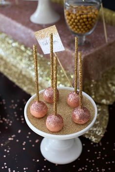 Pink and rose gold glitter cake pops.