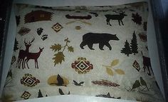 1-PILLOW-SHAMS-Fish-QUILT-cabin-trout-flyfishing-boat-Moose-bird-canoe-boat-Bear