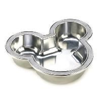 """ICONIC MICKEY MOUSE BOWL    hree cheers for Mickey's famous ears! This delightful bowl adds a touch of Disney charm wherever you choose to display it, bringing out the child in everyone's heart. Weight: 0.8 lbs. Arthur Court Designs, Inc. © Disney 7½"""" x 6 ¾"""" x 1¾"""" high. Food safe aluminum alloy. Hand wash with warm water, towel dry.  $10.00"""