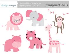 baby girl clip art, pink wild jungle safari zoo animals digital clipart lion giraffe monkey elephant commercial use - INSTANT DOWNLOAD. $3.50, via Etsy.