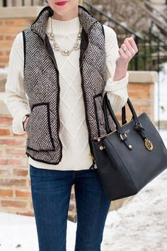 'Jane' Herringbone Puffer Vest from Goodnight Macaroon