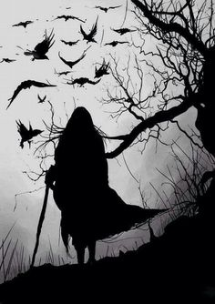 """Irish mythology, the Morrigan (""""phantom queen"""") was a war goddess who would sometimes take the form of a crow. She would fly over battlefields like this, inspiring fear in the hearts of those below. Dark Fantasy, Fantasy Art, Arte Obscura, Crows Ravens, Gothic Art, Gods And Goddesses, Dark Art, Fairy Tales, Silhouettes"""
