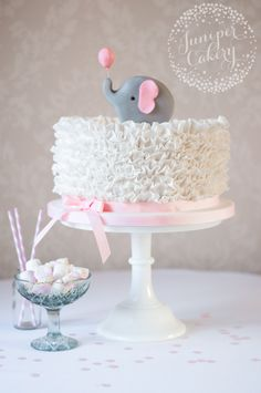 Elephant ruffle baby shower cake by Juniper Cakery