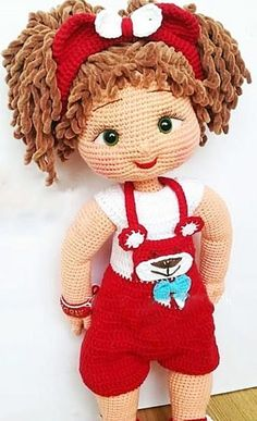 Amigurumi doll with red dress pattern idea. Here you can find easy amigurumi ideas for beginners. Best Amigurumi free pattern animals, dolls, super heroes, ca Crochet Dolls Free Patterns, Crochet Doll Pattern, Doll Patterns, Pattern Ideas, Amigurumi Patterns, Cute Crochet, Crochet Toys, Crochet Mignon, Amigurumi Toys