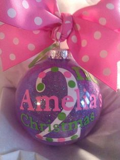 Babys 2nd Christmas Ornament Personalized Custom with Bow Ribbon 3rd Christmas