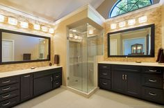 Contemporary master bathroom with double sink inset cabinets flush - Traditional Master Bathroom With Flat Panel Cabinets