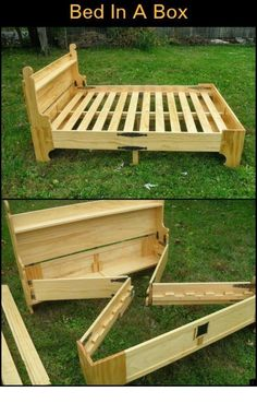 It looks like a simple chest or a bench with storage, but it's definitely not your ordinary furniture! This is a space-saving DIY bed project that you would mos Diy Wood Projects, Furniture Projects, Furniture Makeover, Diy Furniture, Murphy Bed Ikea, Murphy Bed Plans, Diy Bett, Space Saving Beds, Convertible Furniture