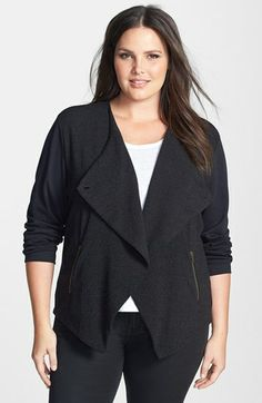 Halogen® Mixed Media Jacket (Plus Size) available at #Nordstrom