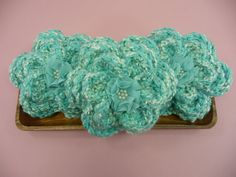 BOWL FILLERS Flowers Aqua  Set of 3 Chunky by CraftCreationsEtsy