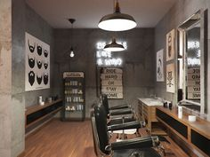 Barbershop design Barbershop design on Behance Interior Design Software, Salon Interior Design, Interior Design Photos, Salon Design, Barber Shop Interior, Barber Shop Decor, Hair Salon Interior, Best Barber Shop, Barbershop Design