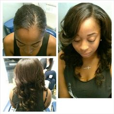 Aprils before and after sew in with virgin Brazilian Hair. HAIR SOLD HERE