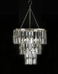 Round glass chain chandelier round glass chandeliers and rounding 3 tier clear rectangular crystal chandelier chr901 mozeypictures Gallery