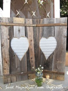 Wood Shutters with Corrugated Metal Hearts by SweetMagnoliasFarm $48.50 for Pair