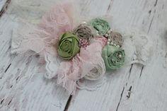 Spring Green Headband-Baby Girl Headband-Flower Girl Headbands-Baby Headbands-Newborn Headbands-Photo Prop