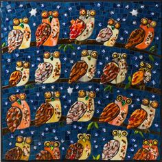 A Parliament of Owls Mosaic Art, Fused Glass, Owls, Glass Art, Birds, Bird, Glass Craft, Owl, Mosaics