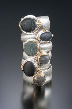 Beach pebble rings in sterling silver & 18K gold. www.jnielsenjewelry.com