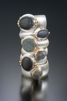 Beach pebble rings in sterling silver & 18K gold. Jennifer Nielsen Hand-Crafted Jewelry.