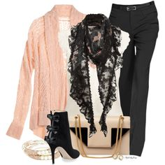 """Dressed Up Cardigan & Scarf"" by stylesbyjoey on Polyvore"