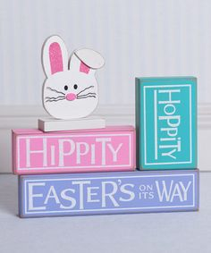 Another great find on #zulily! 'Hippity Hoppity' Block Sign Set by Adams & Co. #zulilyfinds