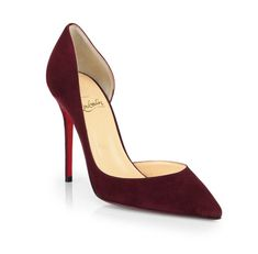 Christian Louboutin Iriza Suede D'Orsay Pumps in Burgundy