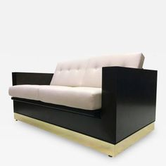 Milo Baughman - Midcentury Ebonized Wood and Brass Box Love Seat offered by Galerie Sommerlath on InCollect Outdoor Sofa, Outdoor Furniture, Milo Baughman, Mid Century Modern Furniture, Recliner, Mid-century Modern, Love Seat, Ottoman, Furniture Design