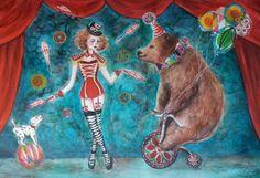 """""""The circus"""" watercolor and mixed mesia painting by Katrina koltes"""