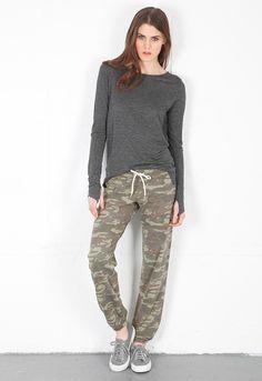 Monrow Camo Vintage Sweats in Army