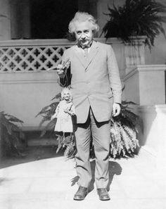 Albert Einstein with an Albert Einstein puppet. Via http://carolynkellogg.tumblr.com/