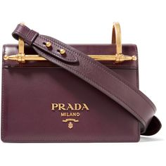 Prada Pattina leather shoulder bag (£1,590) ❤ liked on Polyvore featuring bags, handbags, shoulder bags, purple handbags, genuine leather handbags, purple shoulder bag, evening handbags and cell phone purse