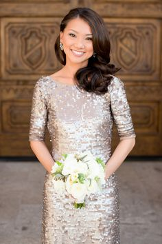 Gold Sequin Bridesmaids Dress | photography by www.amyandjordan.... | floral design by www.petalsandlucy... | event design by www.laurakehoedes...