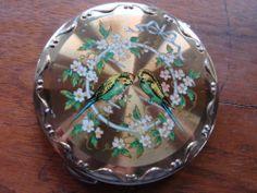 Vintage 1950s Kigu powder compact budgerigars  blossom design on gold, VGC | eBay