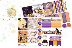 Planner Stickers Weekly Kit Halloween for your Erin Condren Life Planner, Plum…