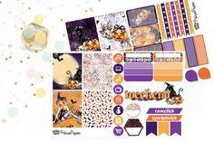 Planner Stickers Weekly Kit Halloween for your Erin Condren Life Planner, Plum…
