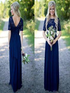 Long Bridesmaid Dress,navy blue bridesmaid dress,half sleeve bridesmaid