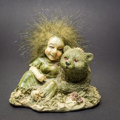 Swedish Norwegian Troll Sitting with a Bear Gnome Ornament Scandinavian Norway