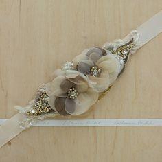 Gold wedding belt Bridal belt Bridal sash wedding by LeFlowers