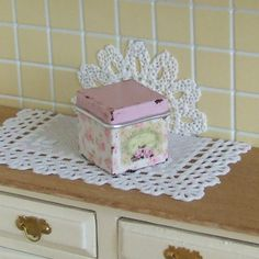 Dollhouse Miniature, Floral Square Canister, Old Tin, Storage Container, Pink Enamelware, French Box, Shabby Cottage Chic, 1:12th Scale
