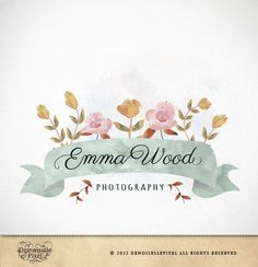 Boutique Logo Hand Drawn Flower Banner Design - by Demoisellepixel on madeit
