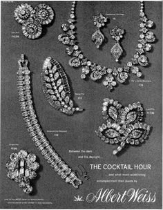Wess Advertisement: The Cocktail Hour 1950s Jewelry, Jewelry Ads, Vintage Costume Jewelry, Vintage Costumes, Antique Jewelry, Jewelry Gifts, Jewelery, Silver Jewelry, Vintage Jewelry